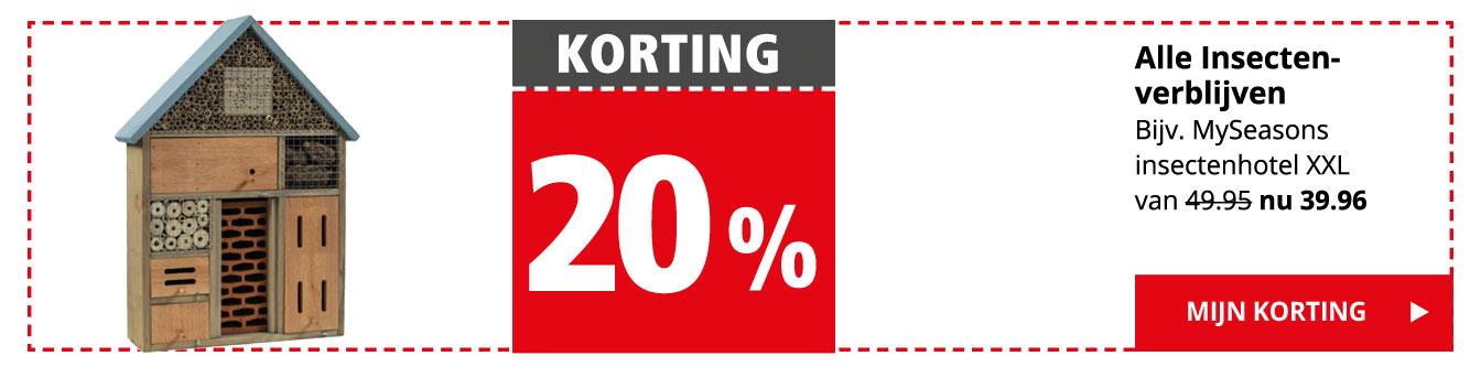 KORTING 20% | Alle insectenverblijven | Bijv. MySeasons insectenhotel XXL van 49.95 nu 39.96 | Mijn korting >
