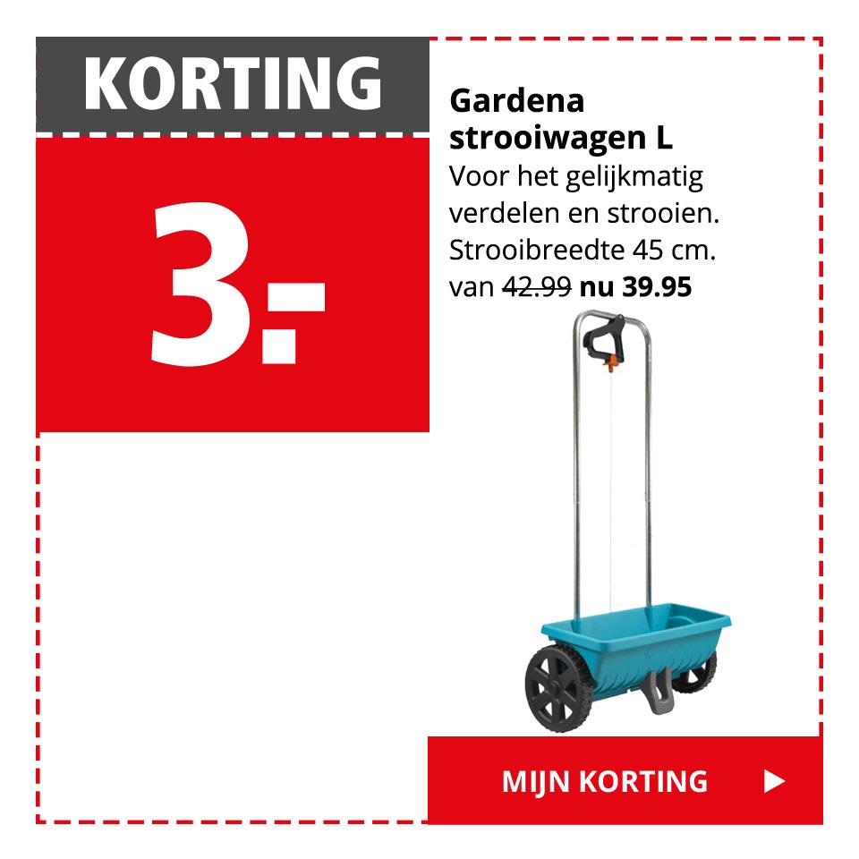 KORTING 3.- | Gardena strooiwagen L van 42.95 nu 39.95 | Mijn korting >