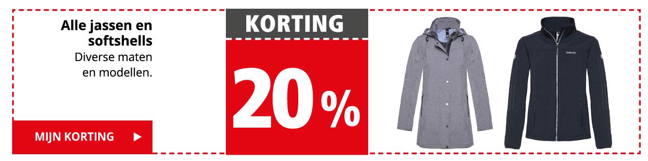 KORTING 20% | Alle jassen en softshells | Mijn korting >